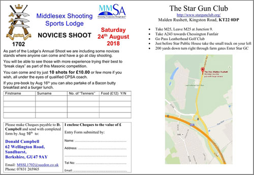 The 1702 Shooting Lodge Challenge Charity Clay Shooting Competition @ The Star Gun Club